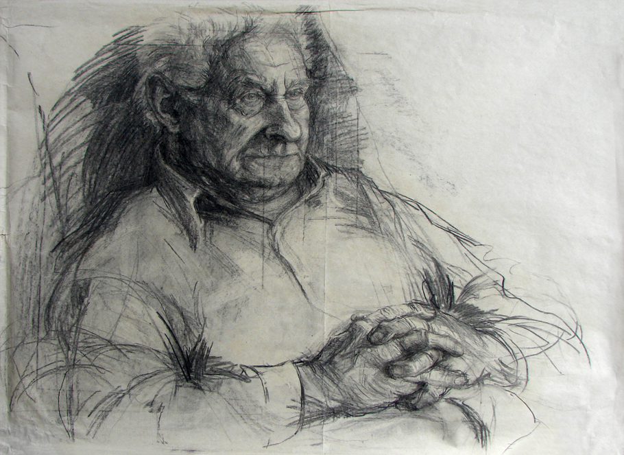 grand-dad (2006, carbon on paper, 110 x 75 cm)