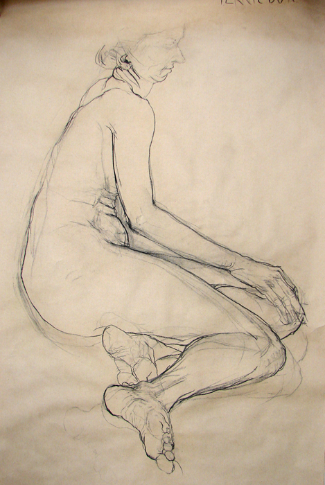 Study (2007, carbon on paper, 210 x 120 cm)