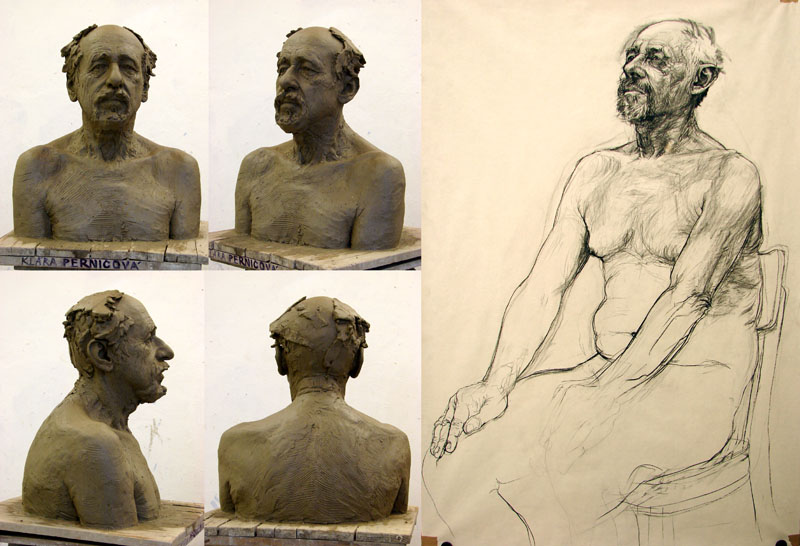 Study – bust and drawing (2008, clay, carbon on paper, life-size)