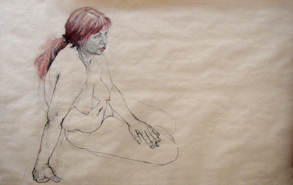 Study – Russian Lady (2008, combinated technique, 220 x 120 cm)