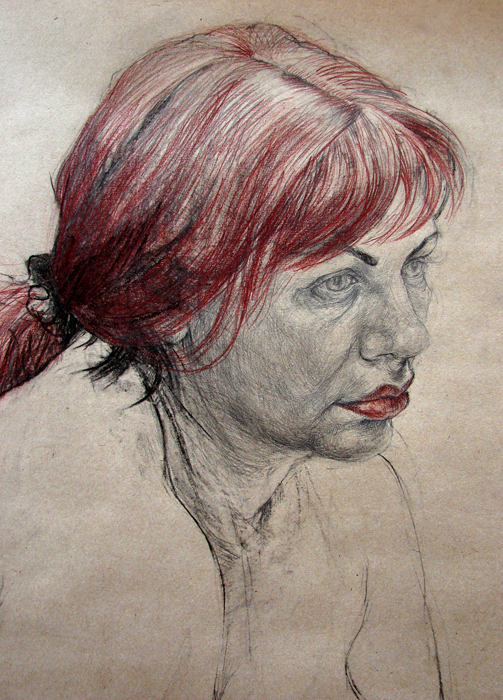 Study – Russian Lady − detail (2008, combinated technique, 220 x 120 cm)